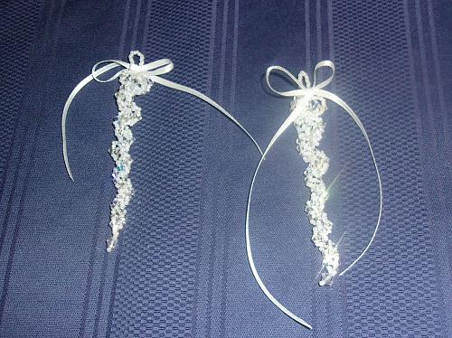 Set of 2 Brand New Handmade Beaded White Silver Icicle Ornaments 4 Dog Charity
