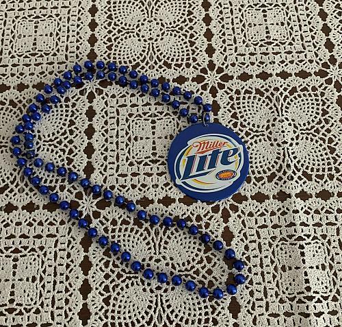 Miller Lite Mardi Gras Beads Medallion Blue 16 inch Strand 4 Dog Rescue Charity