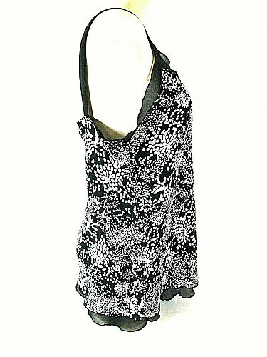 Studio 1940 Women's XL Black White Layered Look Fully Lined V Neck Tank Top (E)