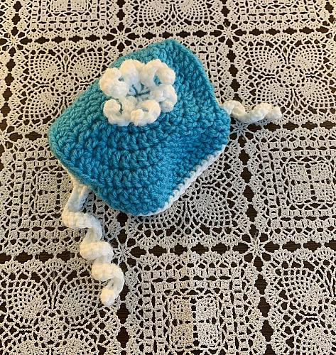 Brand New Crocheted Aqua White Dog Hat MEDIUM Dogs For Dog Rescue Charity