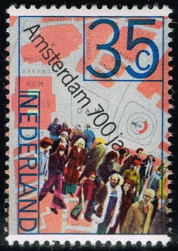 Netherlands #524 People and Map of Dam Square; MNH (4Stars) |NED0524-03XKN
