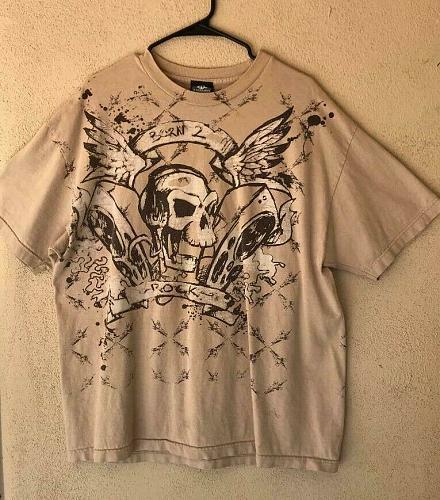Born 2 Rock Skull Shirt Men's XL
