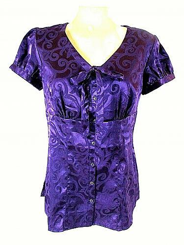Studio 1940 Women's Small Purple Floral Button Down Tie V Neck Top (O)
