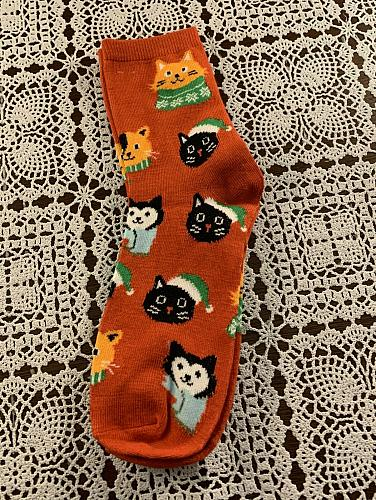 Brand New Ladies Crew Socks Size 4 to 10 Christmas Cats Design For Dog Charity