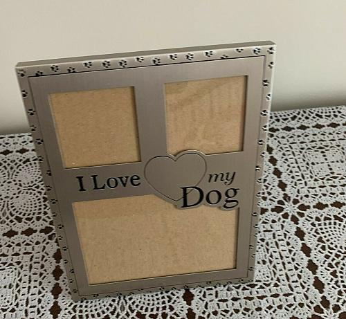 I Love My Dog Metal Photo Frame 5 x 7 Inch Holds 3 Photos 4 Dog Rescue Charity