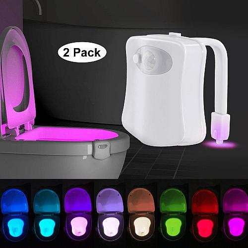 Toilet Night Light 2Pack by AUSAYE, 8-Color Led Motion Activated Toilet Light,