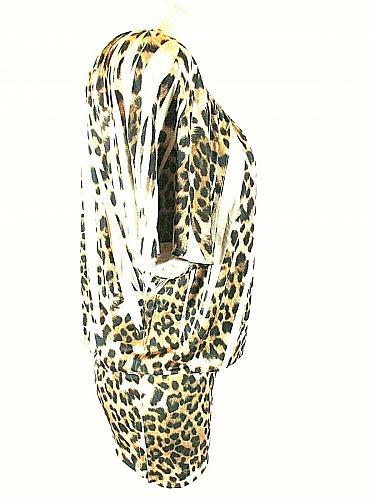 Studio Y Women's Small Shortsleeve Brown Black Animal Print Stretch Top (E)