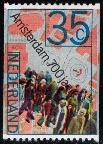 Netherlands #527 People and Map of Dam Square; MNH (4Stars)  NED0527-04XKN