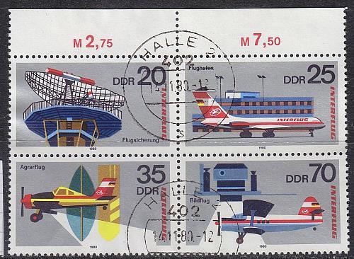 GERMANY DDR [1980] MiNr 2516-19 4er ( OO/used ) Flugzeuge