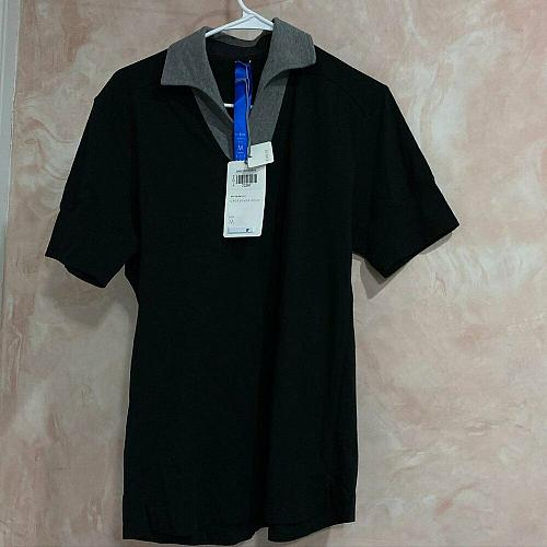 Kit and Ace Black Crossover Polo Shirt