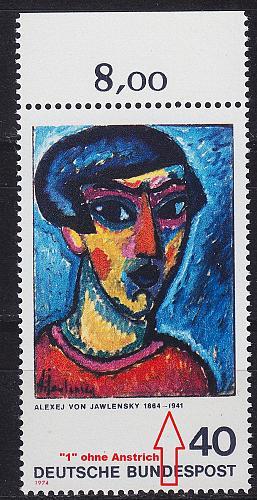 GERMANY BUND [1974] MiNr 0799 F4 ( **/mnh ) [01] Gemälde Plattenfehler
