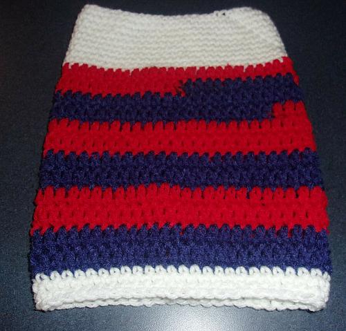 Brand New Hand Crocheted Patriotic Red White Blue Dog Snood Neck Warmer Charity
