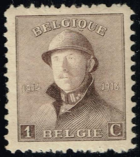 Belgium #124 King Albert I in Helmet; Unused (4Stars)  BEL0124-06XRS
