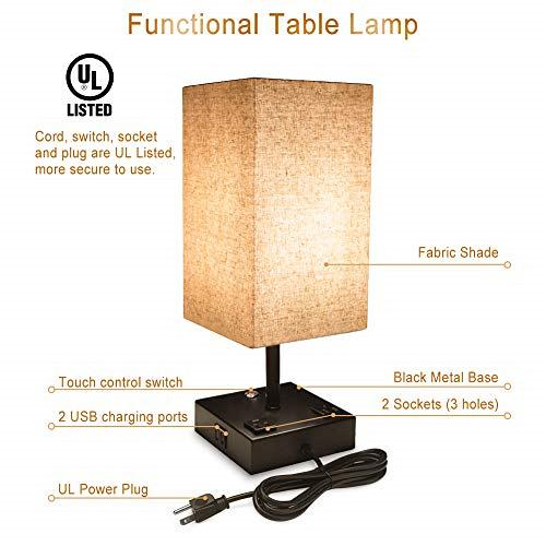 Touch Control Dimmable Table Lamp with 2 USB Charging Ports and 2 AC Outlets, of