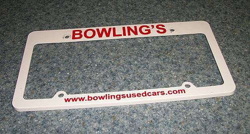 Bowlings Cars Advertising License Plate Frame Canton Ohio For Dog Rescue Charity