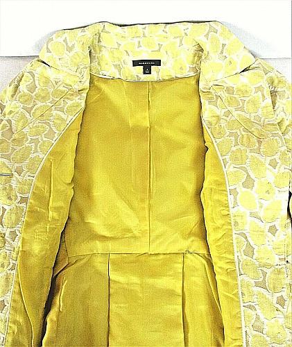 SEMANTIKS womens Sz 6 3/4 sleeve yellow white SILVER METALLIC button jacket (Y)