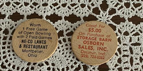 2 Advertising Wooden Nickels Neco Lanes Montpelier OH Osborn Sales Decatur IN