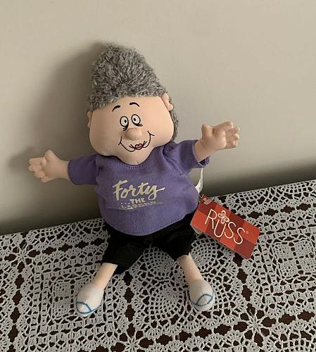 Russ Berrie Geezer Gallery Forty The Legend Continues Oldtimer Beanie Doll