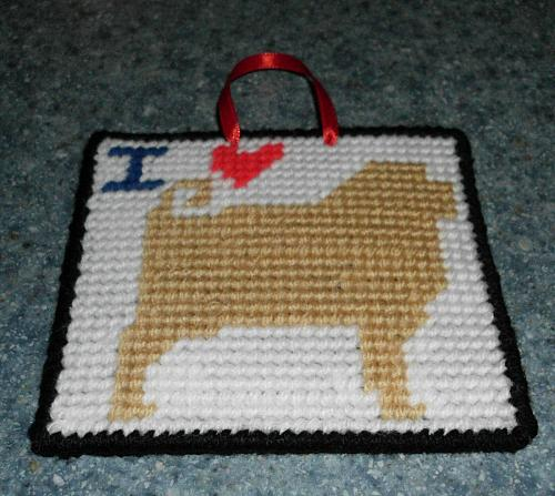 Brand New Handmade Needlepoint I Love FAWN PUG Sign For Dog Rescue Charity