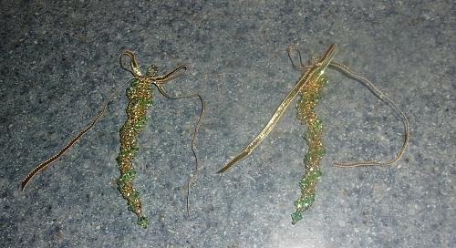 Set of 2 Brand New Handmade Beaded Green Gold Icicle Ornaments For Dog Charity