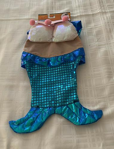 Brand New Fetchware Mermaid Dog Costume With Crown LARGE For Dog Rescue Charity