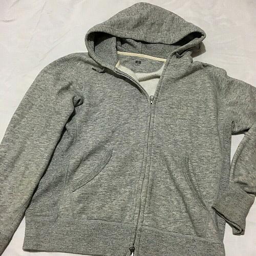 Uniqlo Men's Cotton Grey Zip Up Hoodie Size M