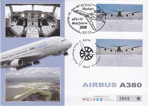 GERMANY BUND [2008] MiNr 2671,2676 ( FDC ) [01] Flugzeug Airbus A380 TOP !!!