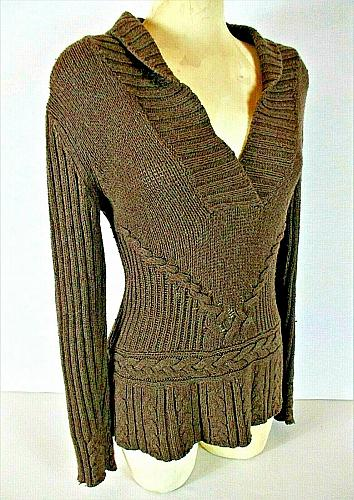 Old Navy Women's Small brown CABLE knit sweater (B7)
