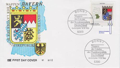 GERMANY BUND [1992] MiNr 1587 F8 ( FDC ) [01] Plattenfehler