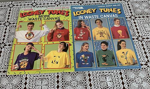 2 Looney Tunes Leisure Arts Waste Canvas Counted Cross Stitch Leaflet 2564 2869