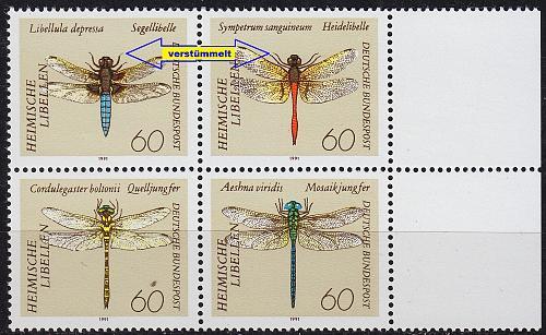 GERMANY BUND [1991] MiNr 1546-49 F19 F20 4er ( **/mnh ) Tiere Plattenfehler