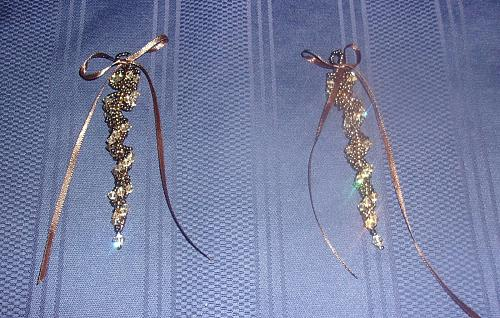 Set of 2 Brand New Handmade Beaded Brown Gold Icicle Ornaments For Dog Charity