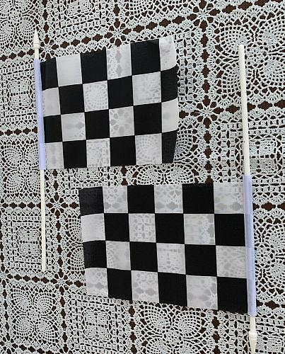Set of 2 Novelty 8 x 5 Inch Checkered Black and White Racing Stick Party Flags