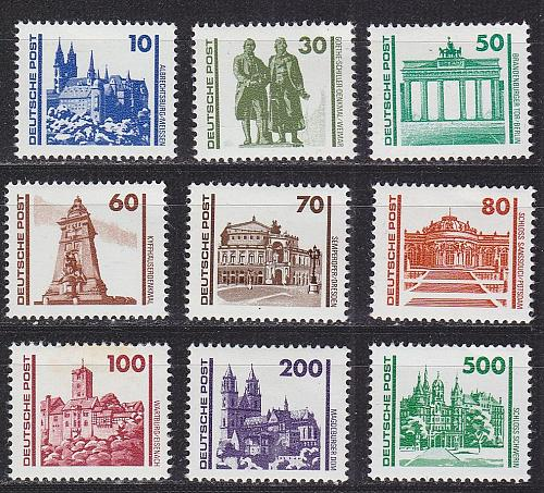 GERMANY DDR [1990] MiNr 3344-52 ( **/mnh ) Architektur