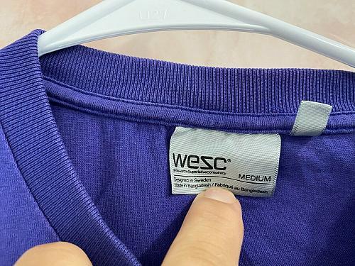 WESC Men's Cotton short sleeve T-shirt Purple SZ M