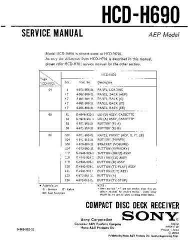 Sony HCD-H690 Manual by download Mauritron #229223