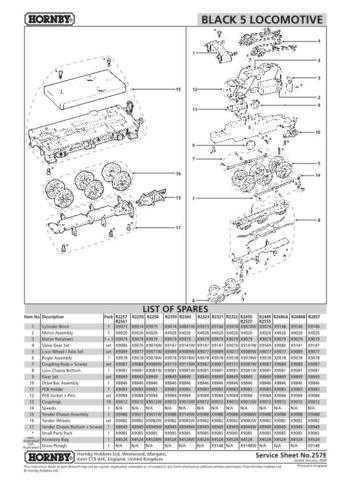 Hornby No.257E Black 5 Service Sheets by download Mauritron #207012