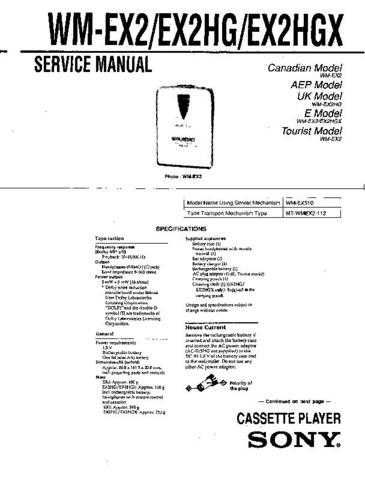 Sony WM-EX2HGX Service Manual. by download Mauritron #245653