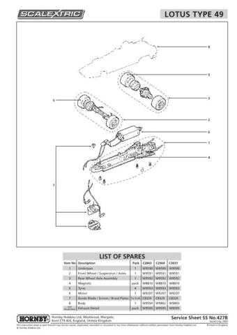 Scalextrix No.427B Lotus Type 49 Service Sheets by download Mauritron #206597
