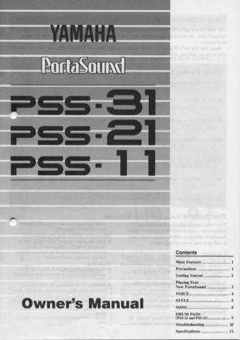 Yamaha PSS31E Operating Guide by download Mauritron #249457