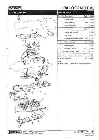 Hornby No.211 J94 Loco Service Sheets by download Mauritron #206907