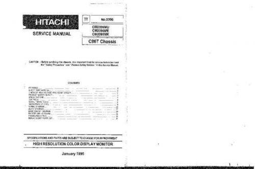 Hitachi CM2096MU Service Manual Schematics by download Mauritron #205877