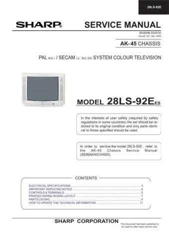 Sharp 28LS92E (1) Service Manual by download Mauritron #207579