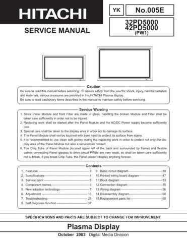 Hitachi 32PD5000 Service Manual Schematics by download Mauritron #205768
