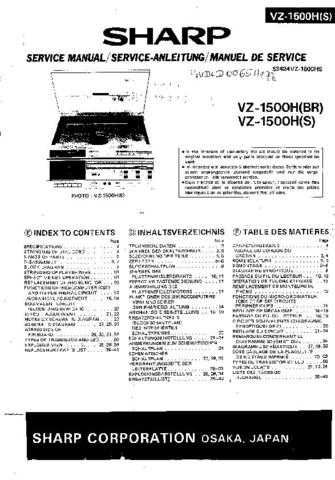 Sharp. VZ1500H-S-BR_SM_GB(1) Service Manual by download Mauritron #211747