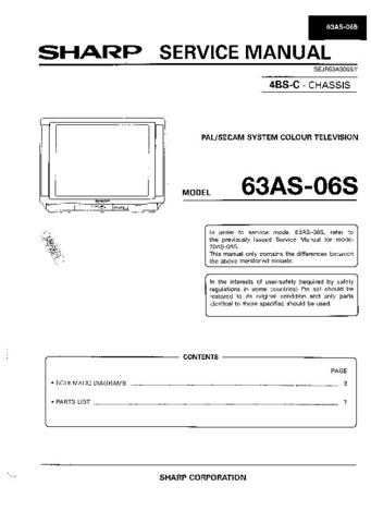 Sharp 63AS06S (1) Service Manual by download Mauritron #207883