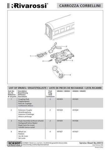 Rivarossi No.00013 Corbellini Coach Service Sheets by download Mauritron #20617