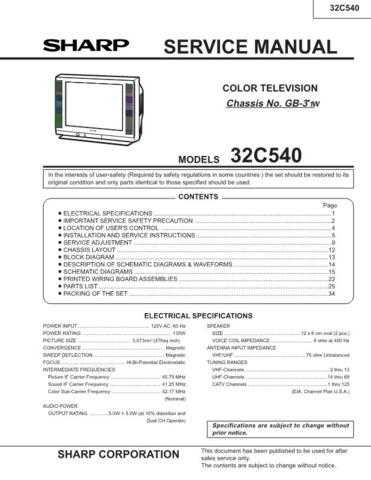 Sharp 32C540 Service Manual by download Mauritron #207627