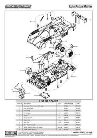 Scalextrix No.464 Aston Martin Lola Service Sheets by download Mauritron #20664