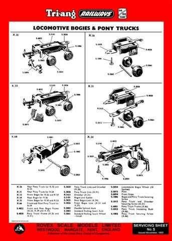 Triang Tri-ang No.005 Loco Bogies and Pony Trucks Service Sheets by download Ma